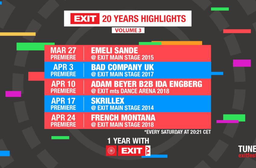 U susret proslavi 20 godina Exita – premijere nastupa Emeli Sande, Adama Beyer-a i Ide Engberg i French Montane!